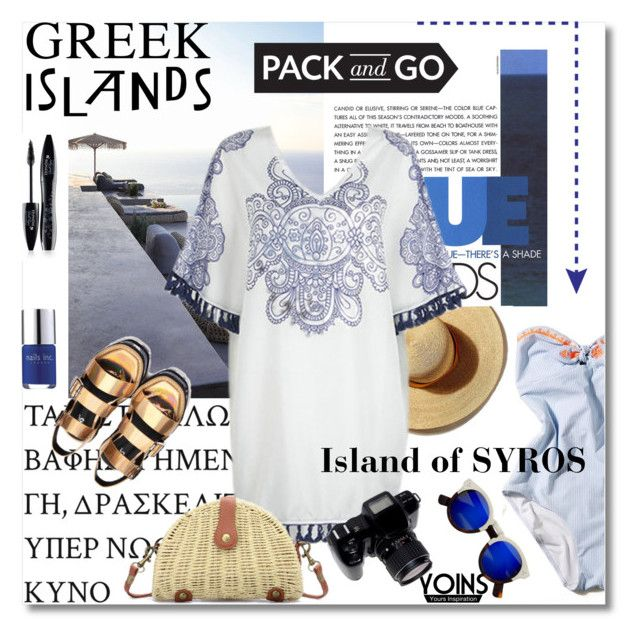 """""""Pack and Go: Greek Islands"""" by lacas ❤ liked on Polyvore featuring Lancôme, Nails Inc., Packandgo, yoins, yoinscollection, loveyoins and greekislands"""