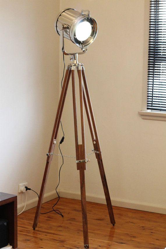 Designer Chrome Vintage Industrial Tripod Floor Lamp Nautical Spot Light Floor Lamp Nautical Floor Lamps Tripod Floor Lamps Lamp