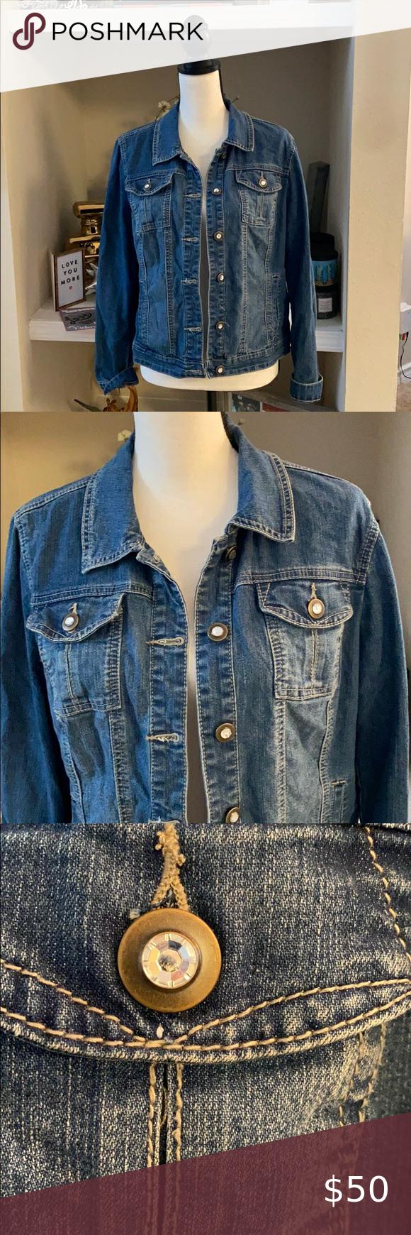 Denim Jean Jacket By Baccini Size L Denim Jean Jacket Jean Jacket Jackets [ 1740 x 580 Pixel ]
