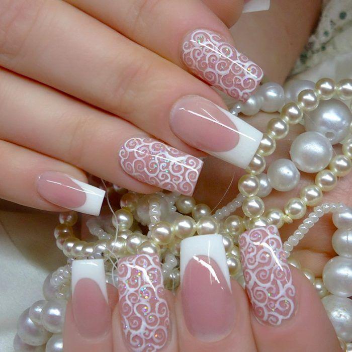 Uñas De Novia Estilo Francés Con Estampados Blancos Diseño De Uñas