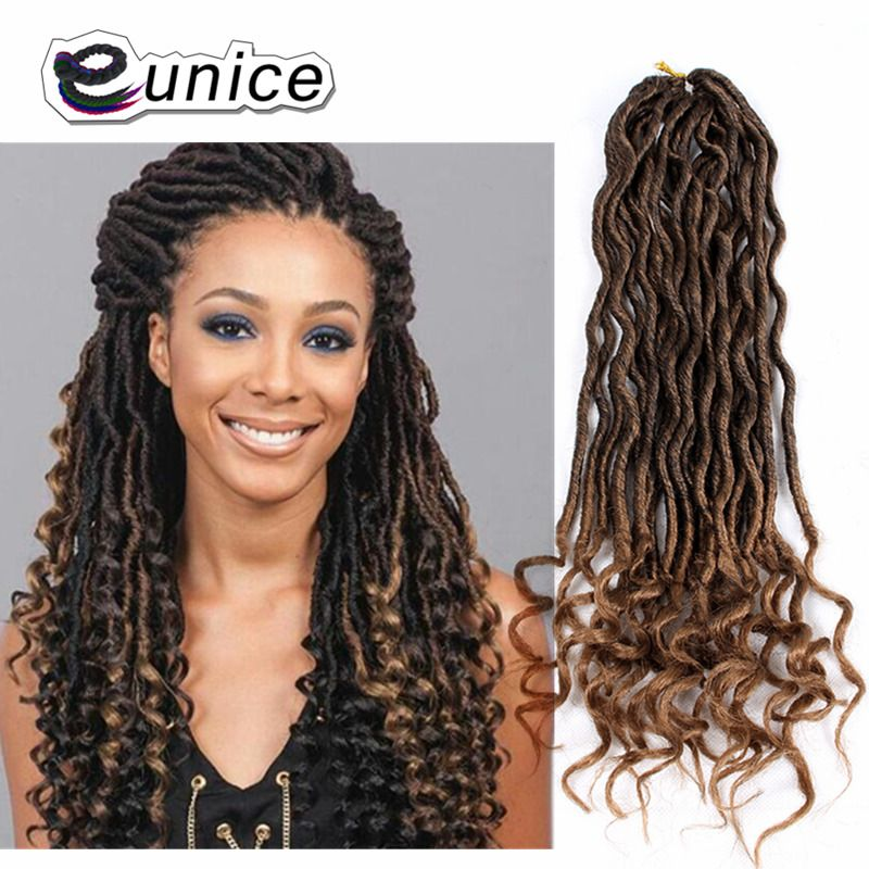20 Faux Locs Crochet Hair Dreadlocks Extension Curly Ends Goddess