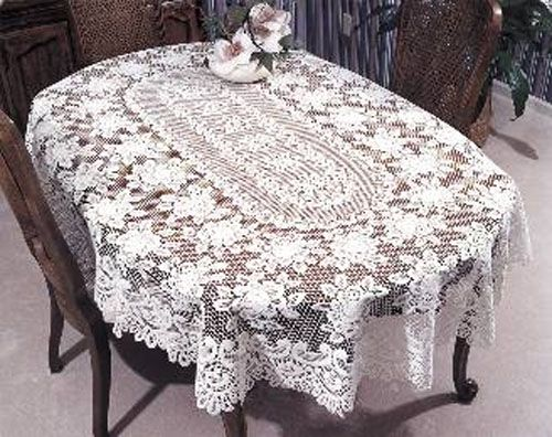 Heritage Lace Rose Oval Tablecloth Table Cloth Lace