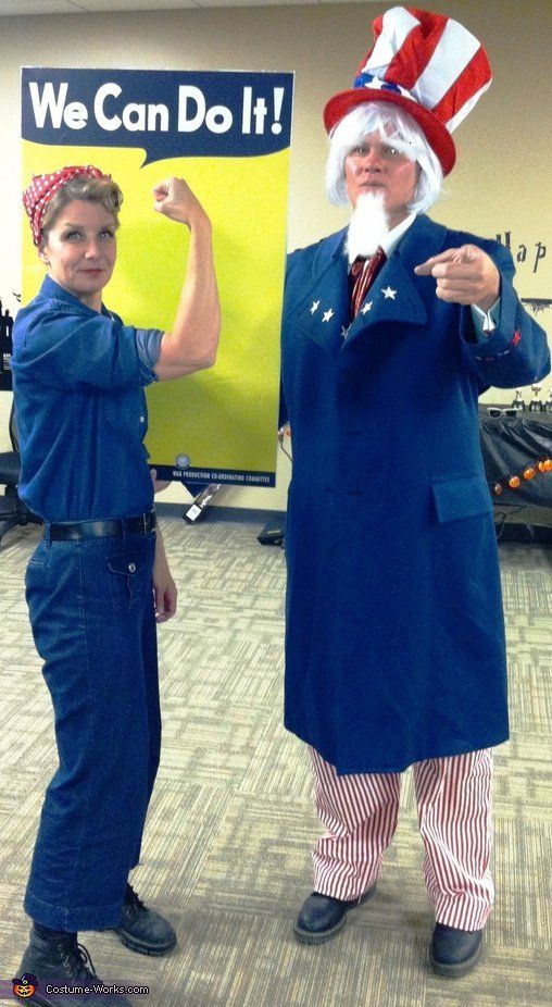 Rosie the Riveter and Uncle Sam Pinterest Couple costume ideas - creative couple halloween costume ideas
