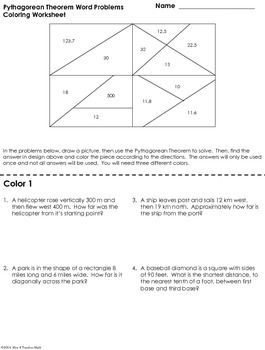 Pythagorean Theorem Word Problems Coloring Worksheet  Coloring