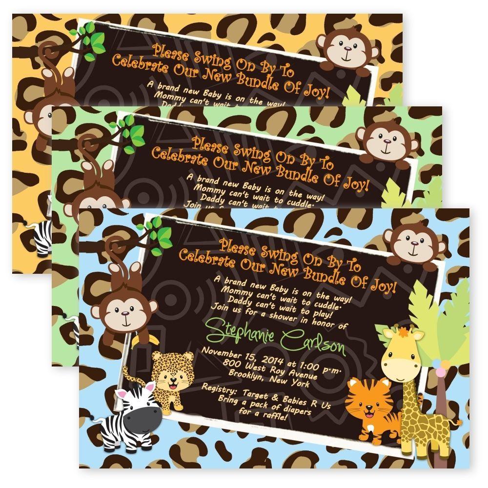 Baby Shower Safari Invitations Jungle Cheetah Leopard Monkey Custom ...