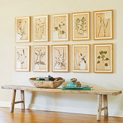 Bench in Dining Room with bird pictures above and jugs by bench ...