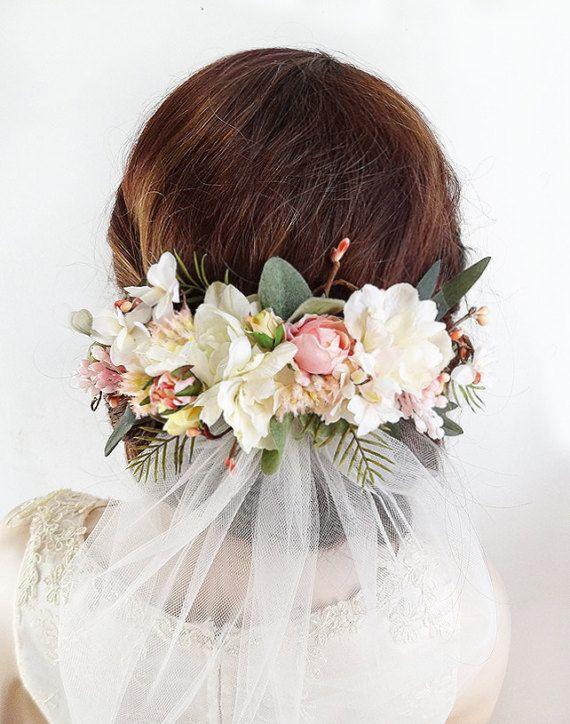 English roses Bridal flower comb Blush flower hair Wedding headpiece Wedding hair accessories Bridal accessories Wedding flowers comb