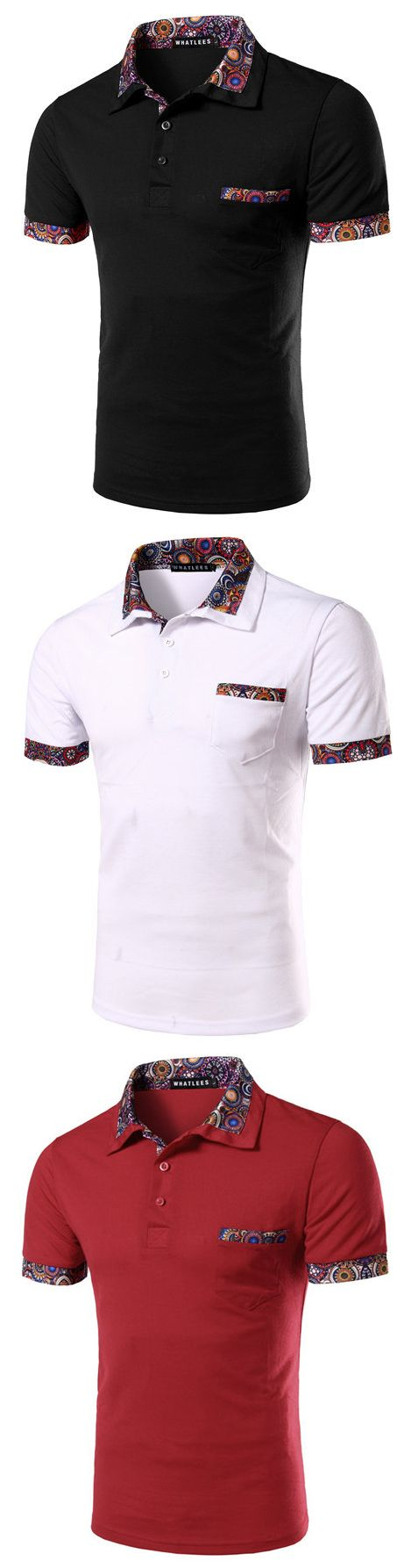 Mens Casual Polo Shirt Floral Printing Short Sleeve Slim Fit Spring Summer Tops