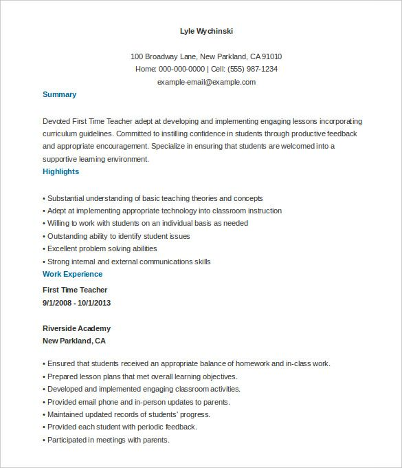First Time Teacher Resume Template Free Customizable  How To Make