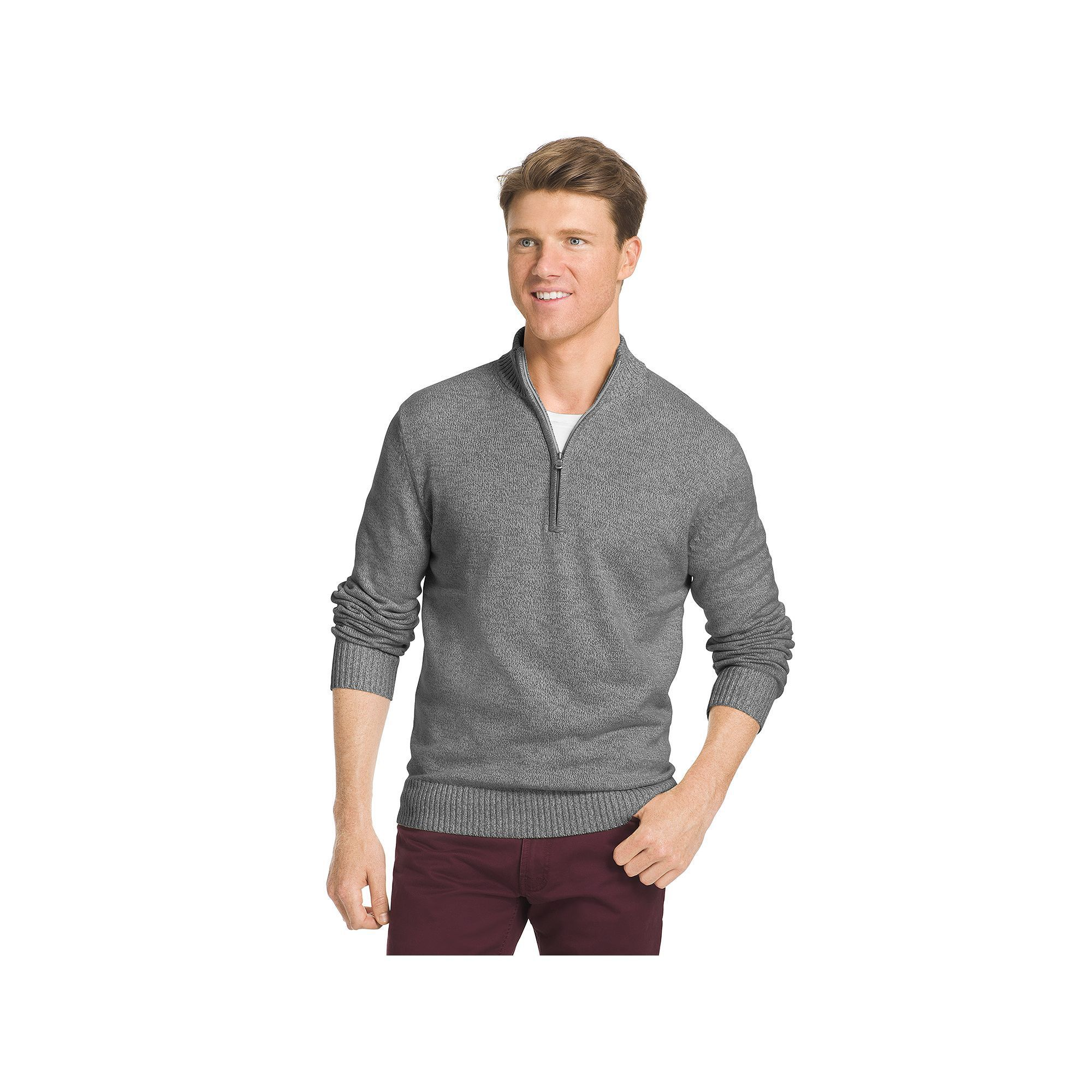 Big & Tall IZOD Classic-Fit Marled Quarter-Zip Sweater, Red Other ...
