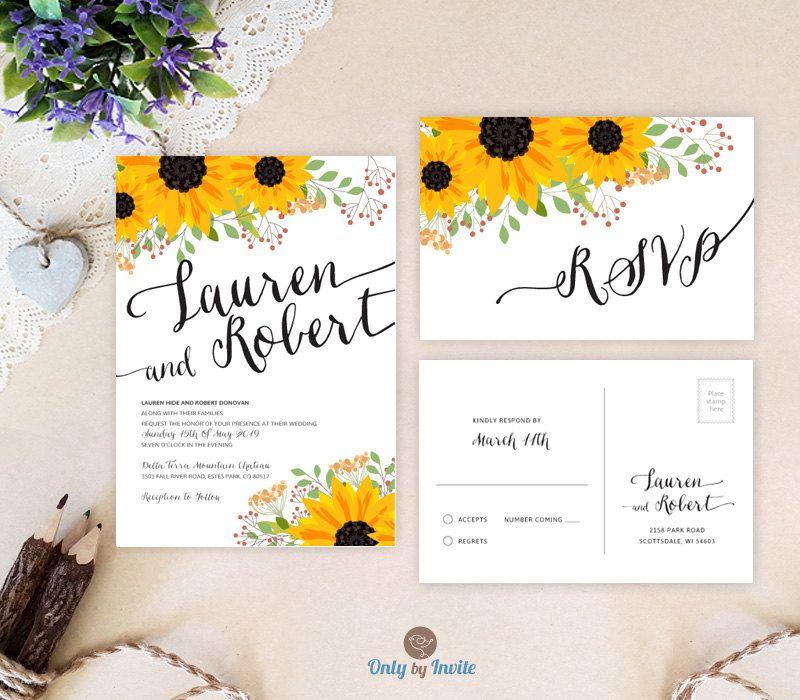 Sunflower Wedding Invitations By Onlybyinvite