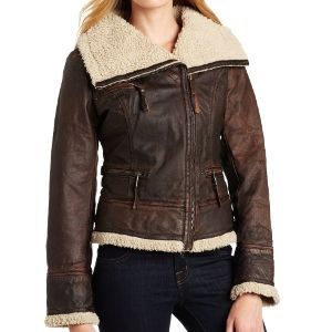 MICHAEL Michael Kors Brown Women's Sherpa Lined Leather Jacket ...