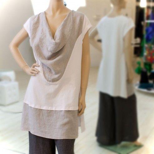 Leinen-Shirt/Tunika im Lagenlook von Hebbeding, Weiß/Grau. Modell: Angry. Top Hebbeding-Qualität!
