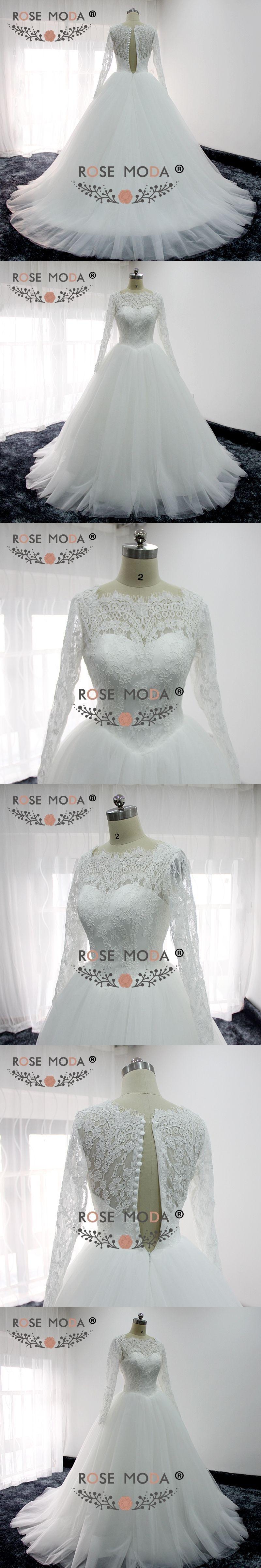 White puffy wedding dresses  Rose Moda High Neck Long Sleeves Puffy Wedding Dress Lace Top