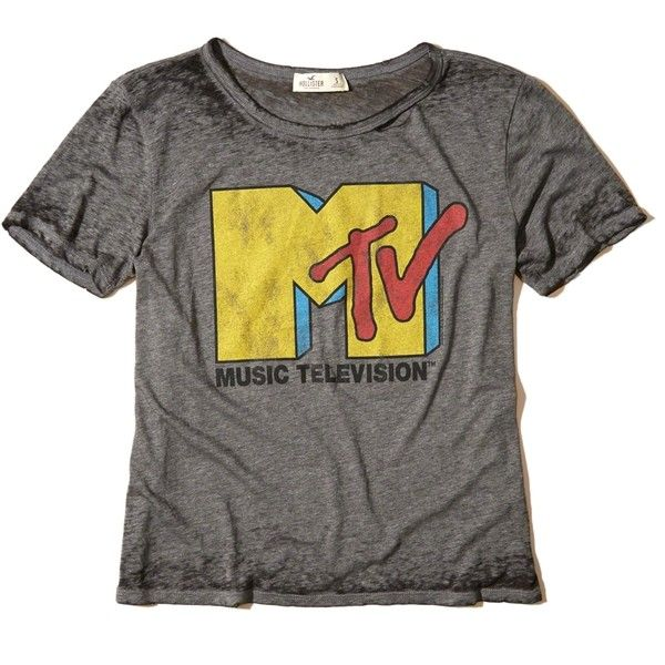 Hollister Distressed Graphic Tee (135 CNY) ❤ liked on Polyvore featuring  tops, t-shirts, dark grey mtv, crew t shirts, crew neck t shirt, vintage s…