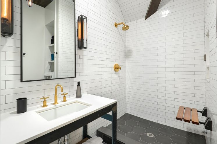 A Stunning Church Conversion in Chicago Contemporary Bathroom by Linc Thelen Design