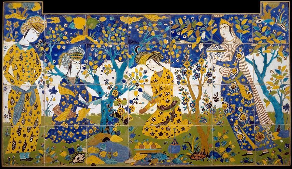 Reciting Poetry in a Garden. Tile, Iran, prob Isfahan. 1st quarter 17th c.