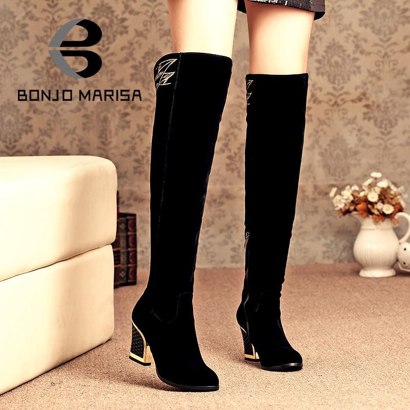 72.67$  Watch now - http://alirow.worldwells.pw/go.php?t=32667091663 - 2015 Over The Knee Boots High Quality Thick With High Heels Long Boots Warm Winter Boots Waterproof Ladies Snow Boots Shoes