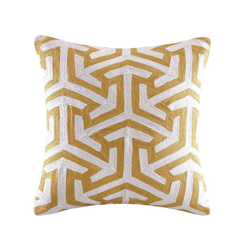 Madison Park Crewel Embroidered Geo Throw Pillow Brown Geo Throw Amazing Madison Square Decorative Pillow