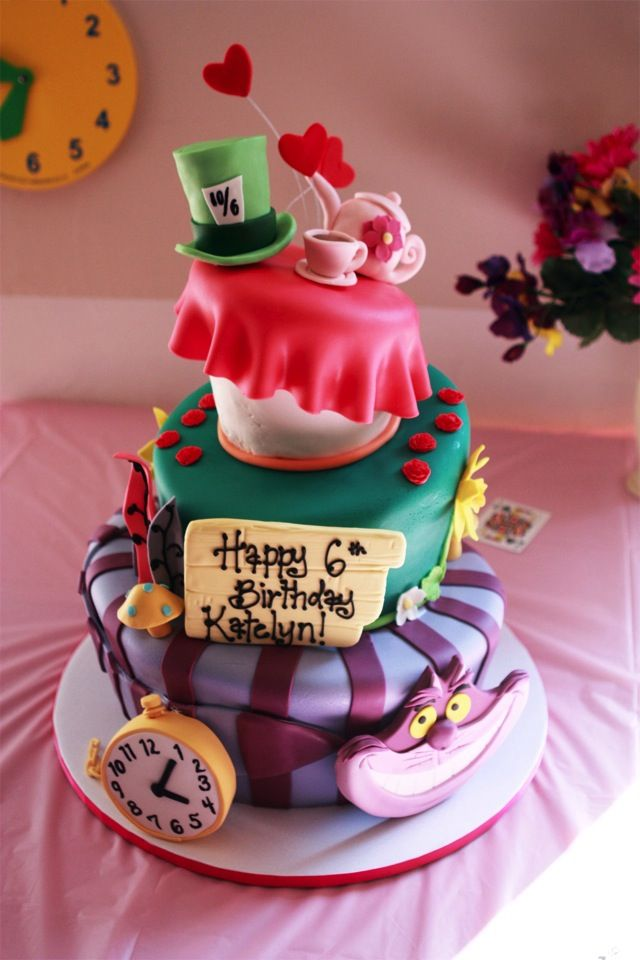 Superb Splendid Alice In Wonderland Cake With Images Alice In Personalised Birthday Cards Cominlily Jamesorg