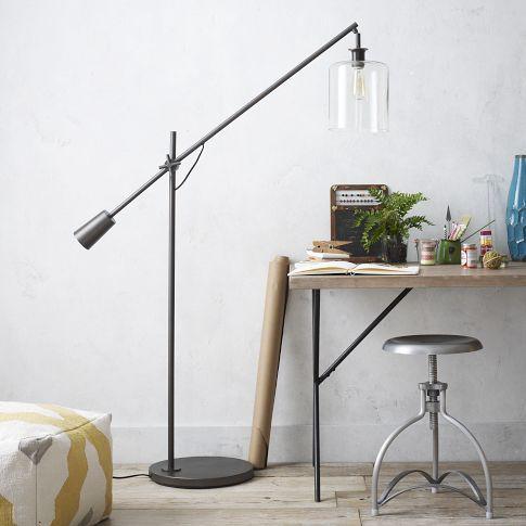 Adjustable Overarching Glass Floor Lamp | west elm
