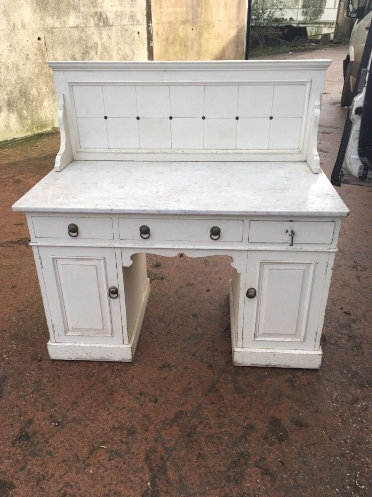 Marble Top Painted Pine Wash Stand Originally From Highclere Castle ...