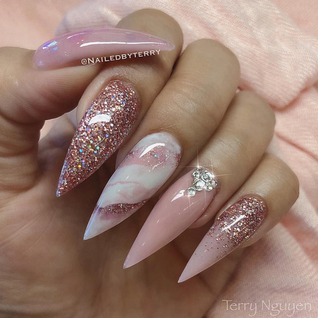 Glam And Glits Nails Uk Europe On Instagram Repost Nailedbyterry Pink Marble Glitter Goals Seriously Wha Nail Art Wedding Bridal Nails Bride Nails