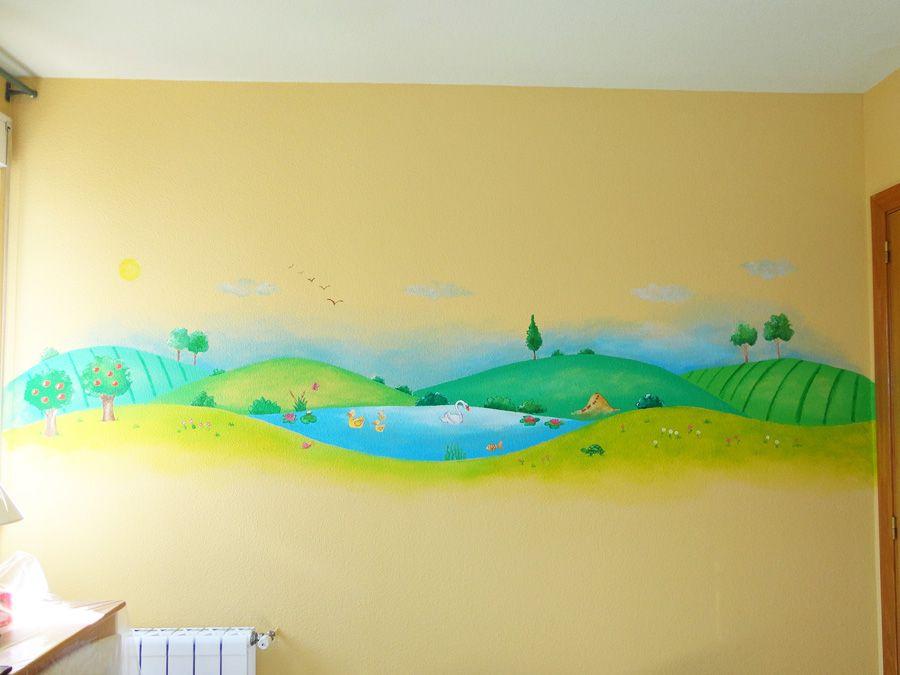 Mural infantil lago campo animales paisaje guarderia for Mural para habitacion