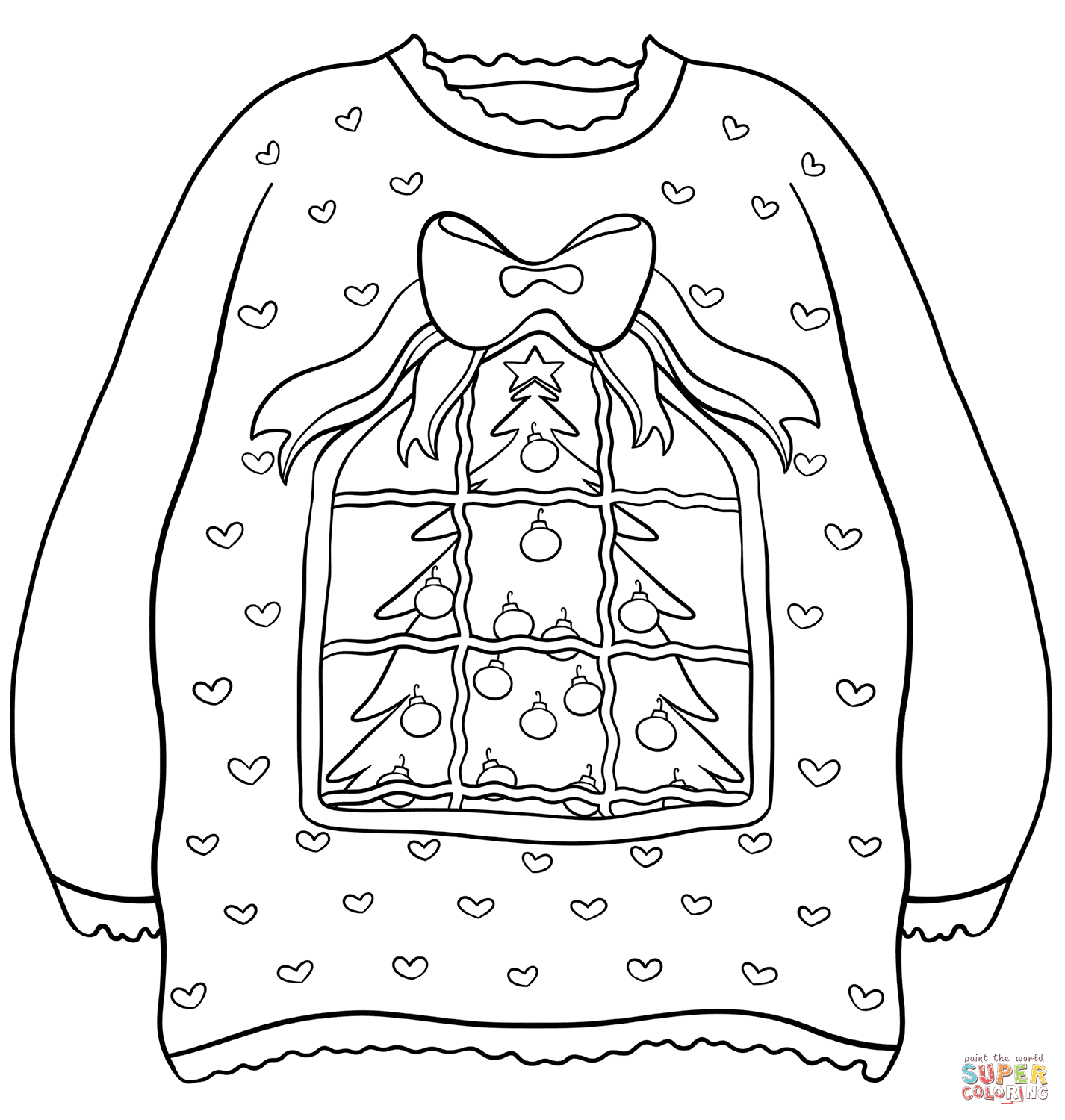Sweater With Christmas Tree Super Coloring Christmas Tree Coloring Page Tree Coloring Page Christmas Coloring Pages