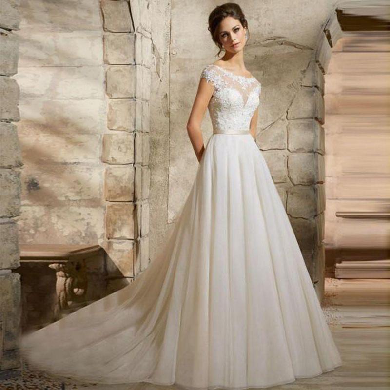 2016 Vestido De Novia High Quality Appliqued Lace Tulle Girl ...