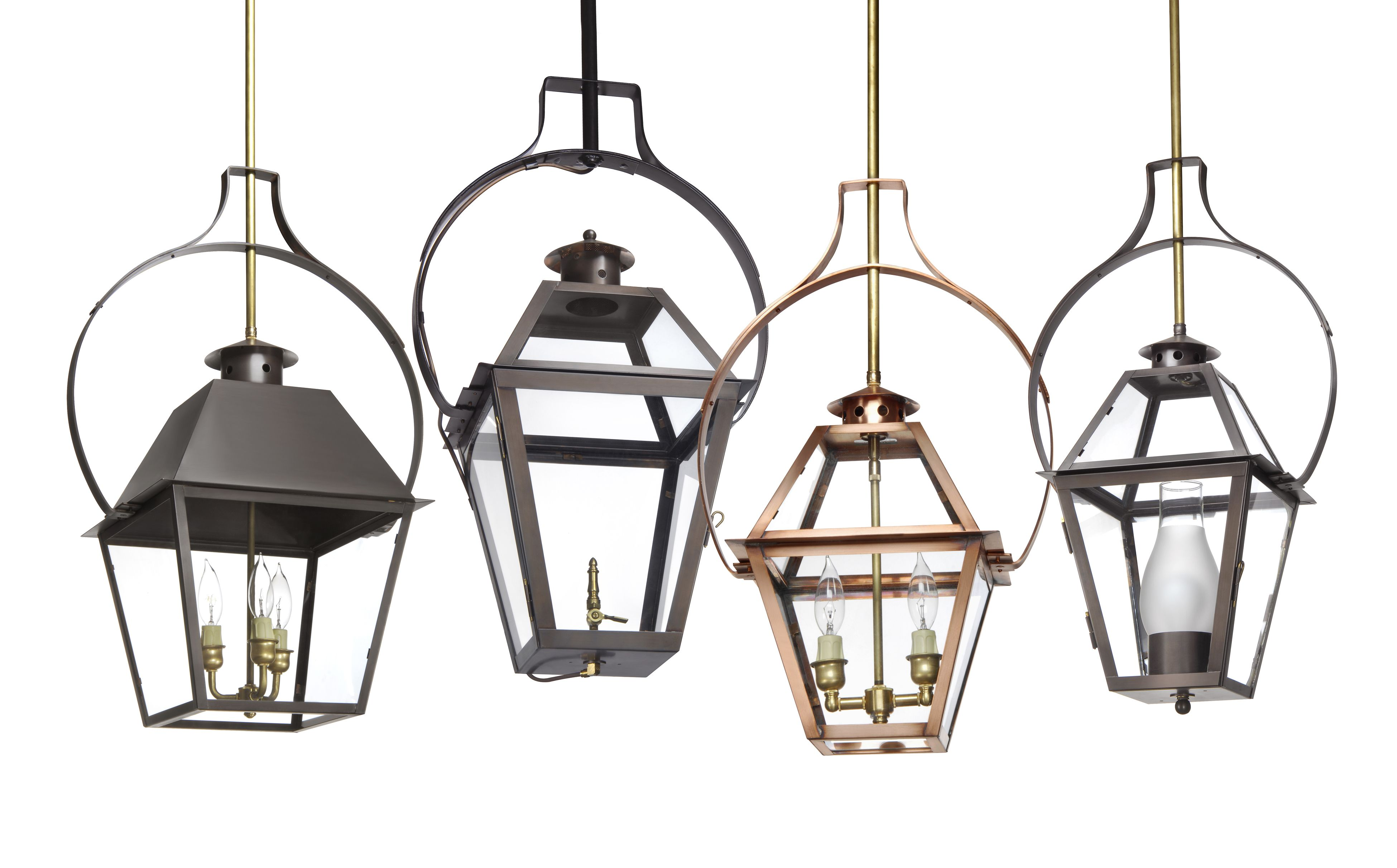Charleston Collection Hanging Yoke Group Brass Lantern