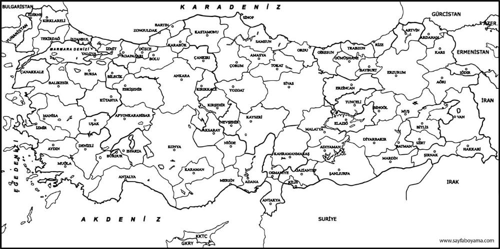 Turkiye Iller Haritasi Boyama Sayfasi 2020 Harita Boyama Sayfalari Turkiye