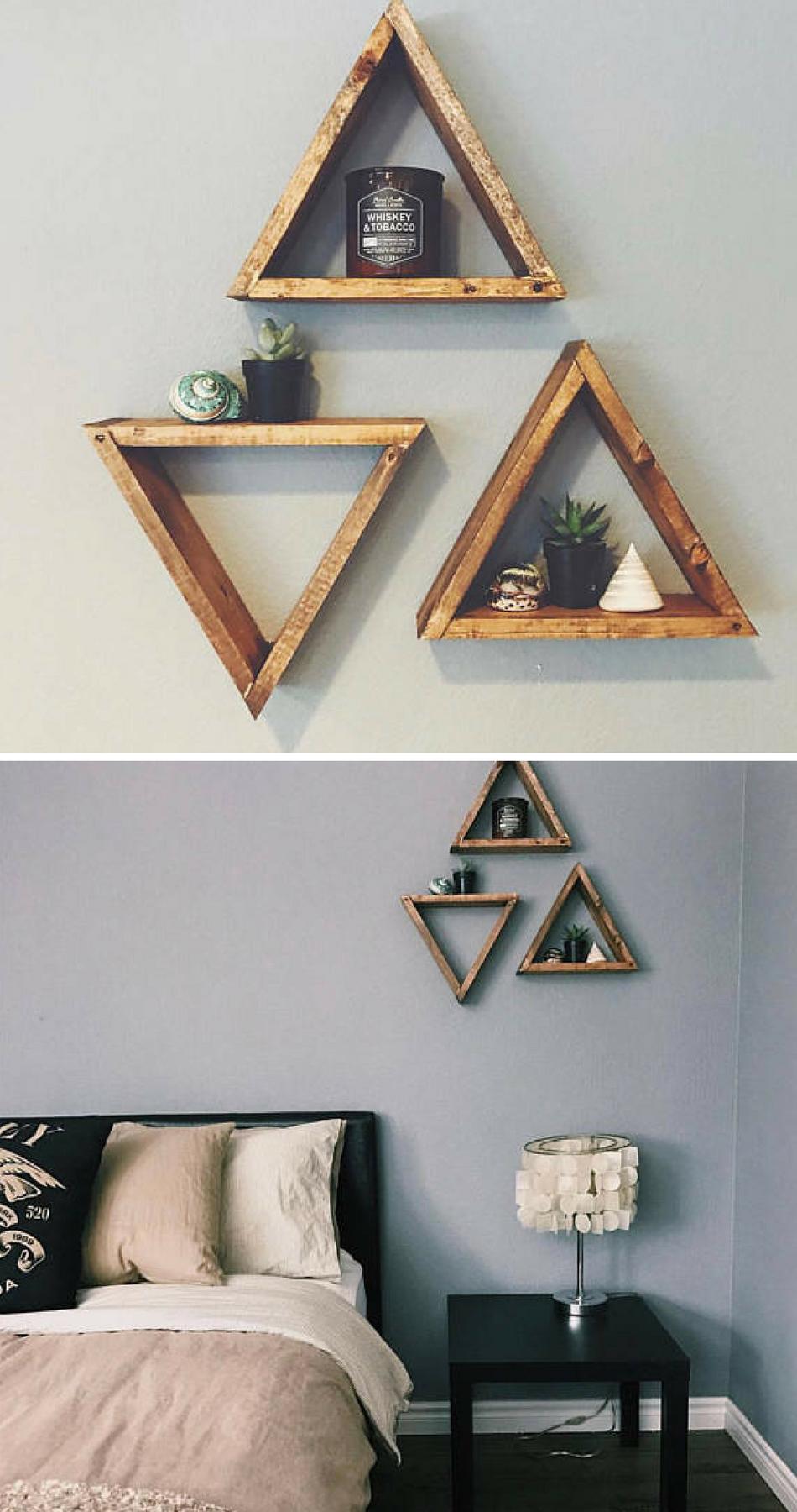 3 Wood Triangle Shelf Geometric Boho Rustic Wall Perfection Add A Little Somethin To Your Walls To Hold Your Pre Rustic Wood Wall Decor Wall Decor Home Decor