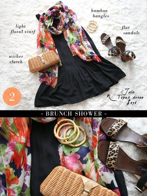 """small shop: Joie dress styled """"brunch shower"""", wicker clutch, J.Crew floral scarf, bamboo bangles, ShoeMint leopard sandals"""