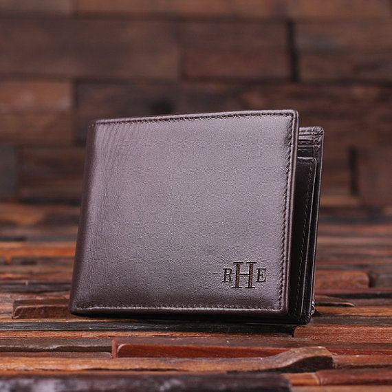 124e6c857b3d8 Personalized Monogrammed Engraved Genuine Leather Bifold Mens Wallet with  Optional Wood Gift Box Groomsmen