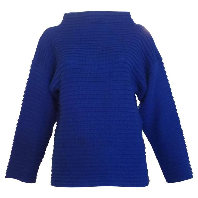 1970s Mary Quant Cobalt Blue Sweater (s) | From a collection of rare vintage sweaters at https://www.1stdibs.com/fashion/clothing/sweaters/