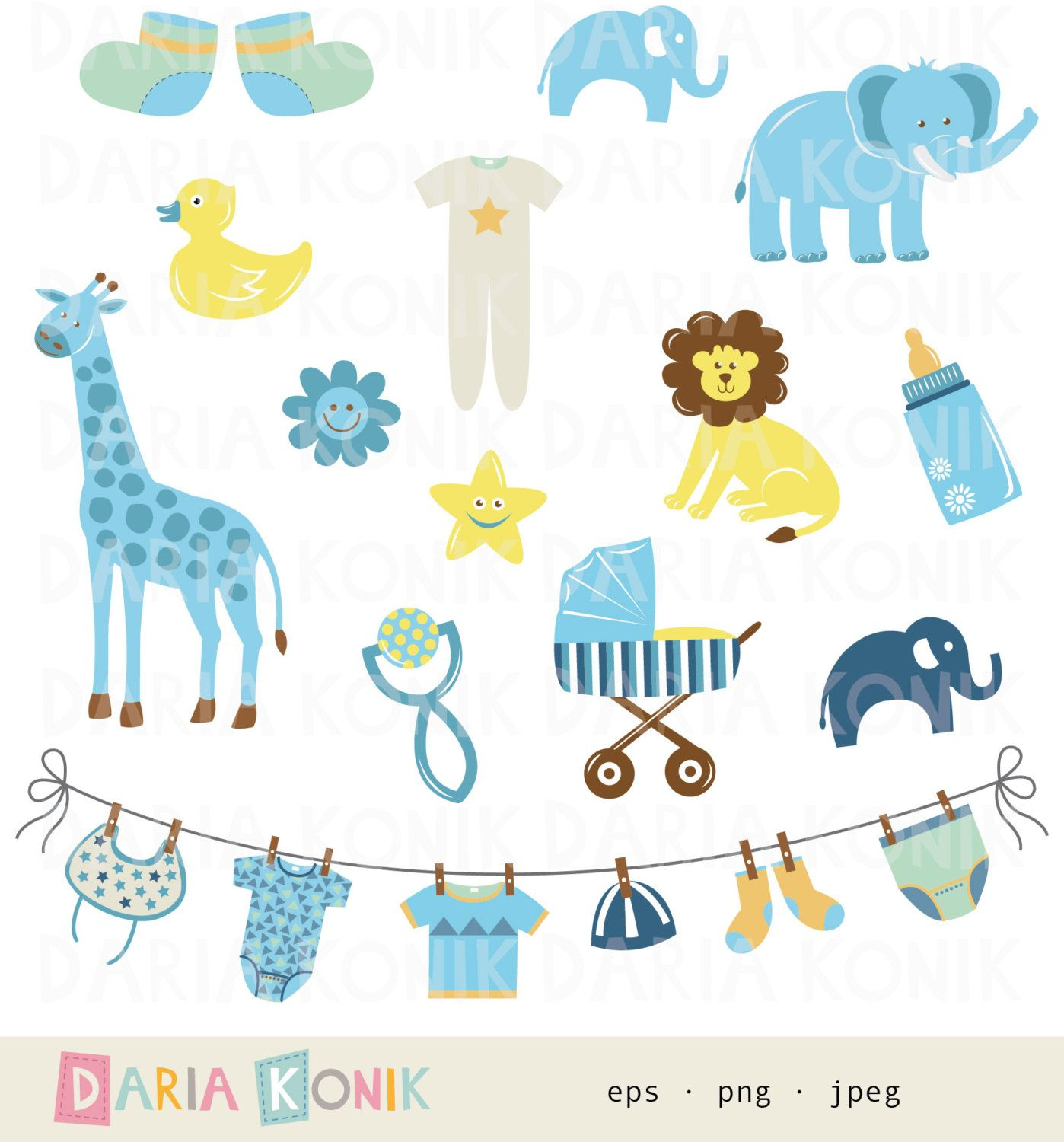 Popular items for baby boy clipart on Etsy | Baby Shower ...
