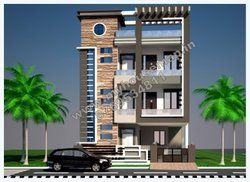 3 storey house plans indian and elevation design | front elevation