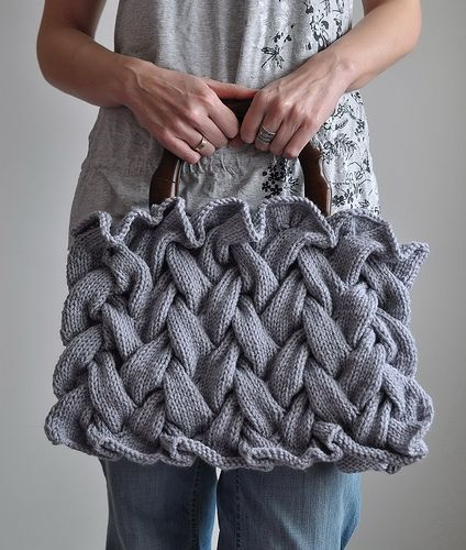 Knitting! I want to drape myself with this bag. Oh, and learn to knit cables!