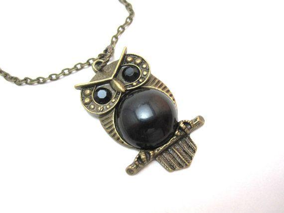 Owl necklace  art deco antique bronze owl with by LazyOwlBoutique, $17.00