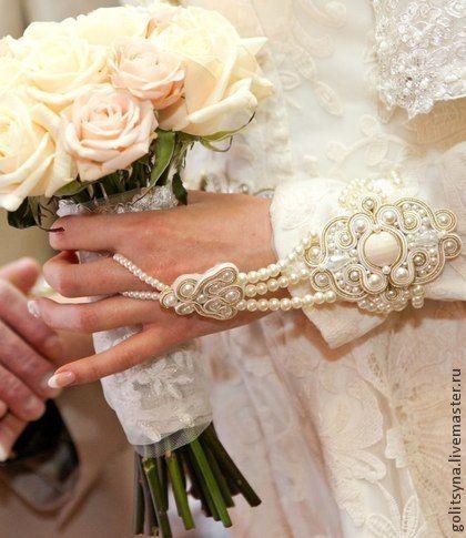 """Сутажные свадебные браслеты """"Индира"""" - бежевый,индира,сутаж,браслет,браслет сутажный"""