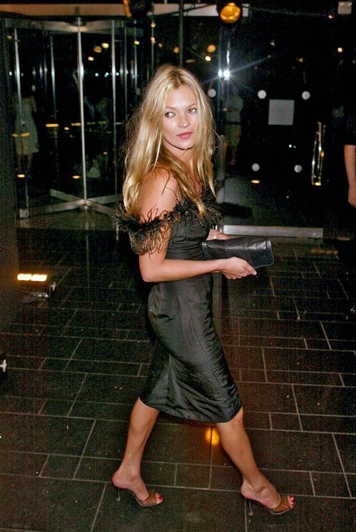 Kate Moss black feathered dress that was inspiration for one of her Topshop frocks.