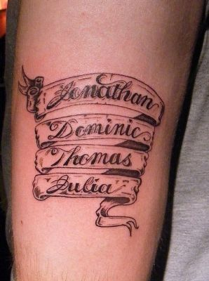 Parchemin prenom image tattoo prenom on scroll 5 modele tatouage horizontal forearm name - Idee tatouage prenom ...