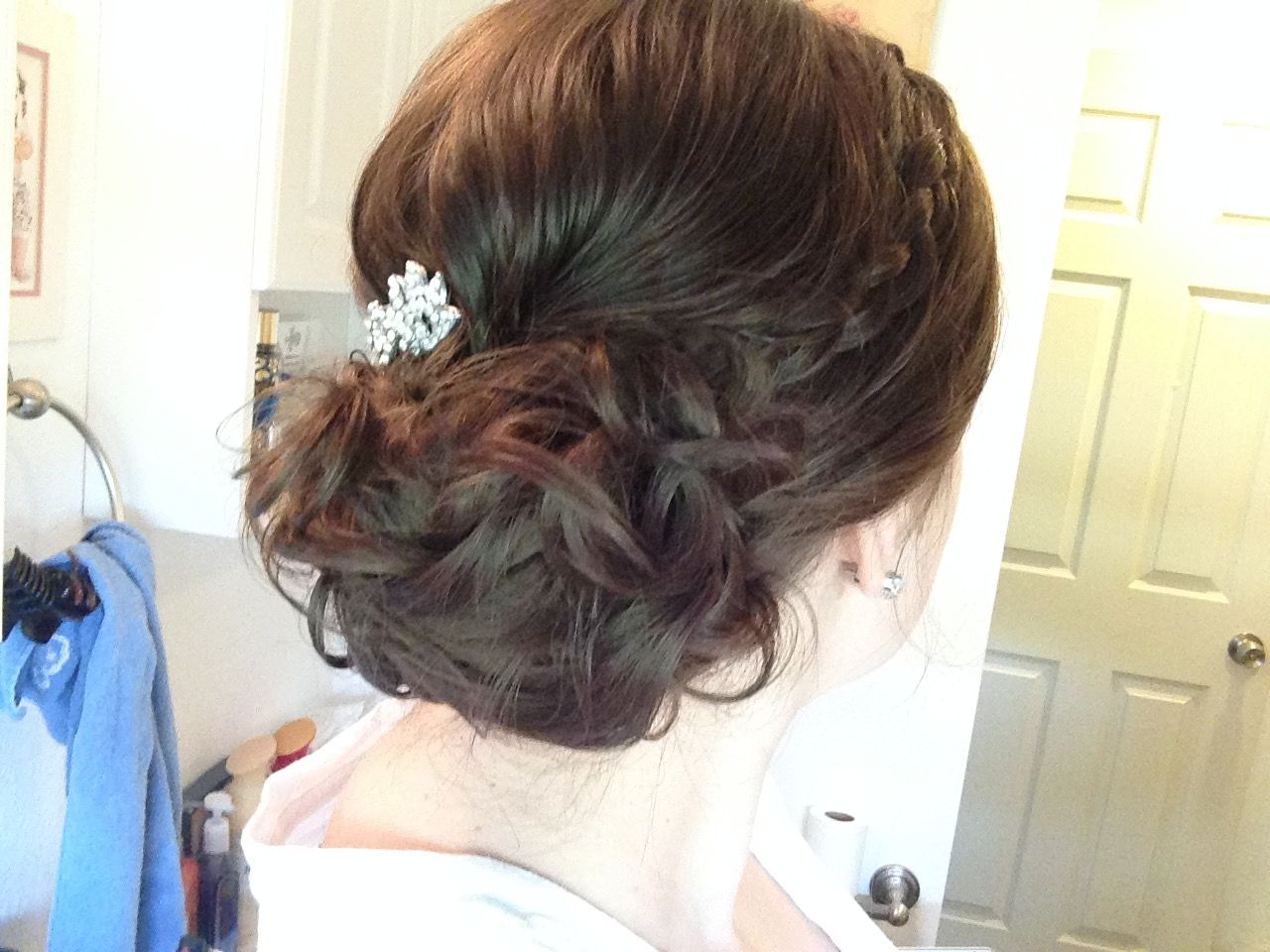 Curly updo bun with single braid  Hair creations waitresshair