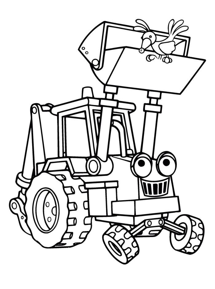 Scoop The Excavator Vehicle Coloring Pages - Bob The Builder - new online coloring pages for cars