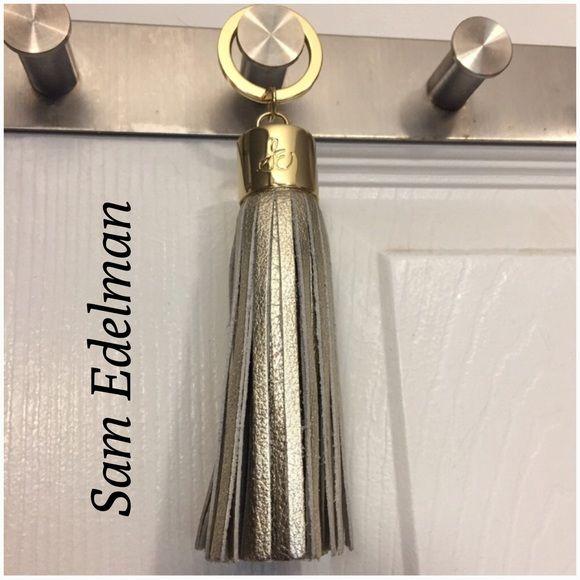 Sam Edelman Leather Tassel Keychain - New Brand New Metallic Silver large/ full tassel Keychain, metal and leather. Sam Edelman Accessories Key & Card Holders