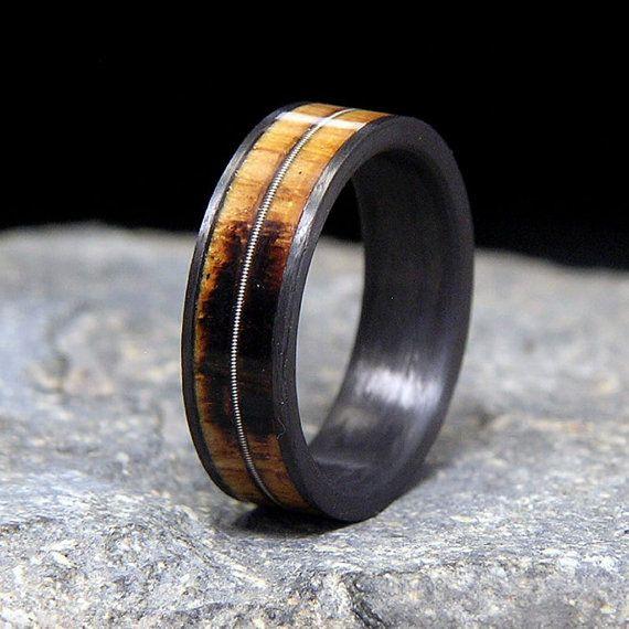 Etsy HolzRingShop Used Jack Daniel Distillery Whiskey Barrel Wood Carbon Fiber Guitar String Inlay Wedding Band Or Ring