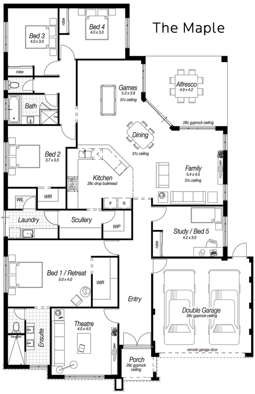 Single Storey House Designs Perth | The Maple | Ross North ... on single story bungalow house plans, single story traditional house plans, single story open floor house plans, single story contemporary house plans,
