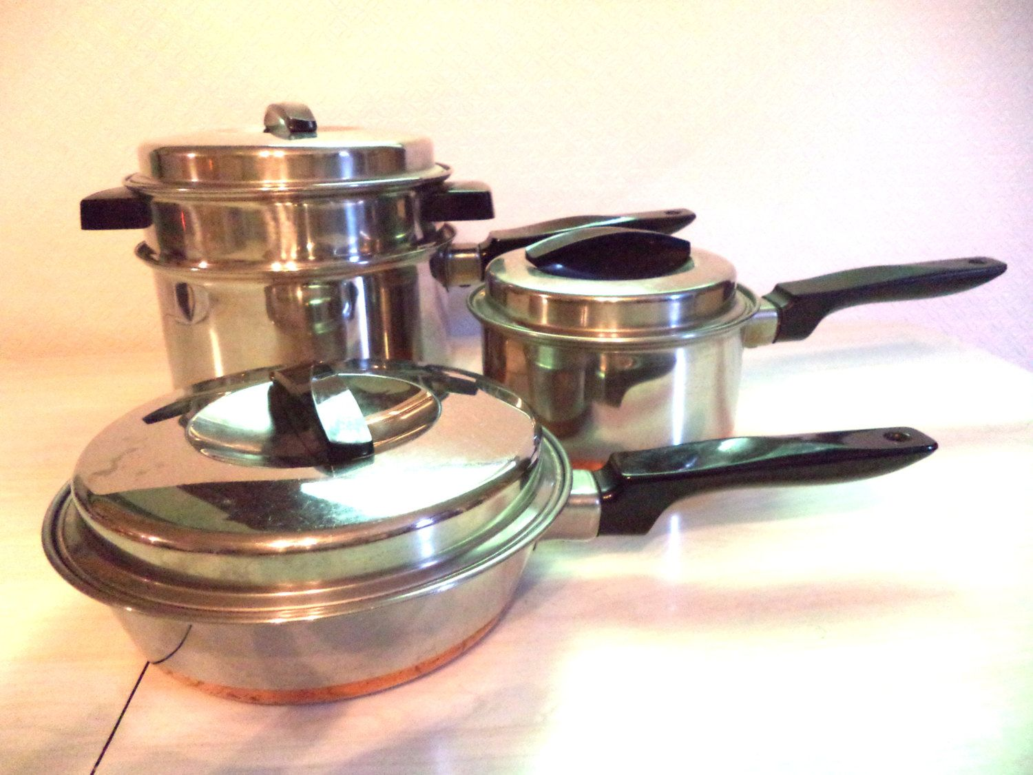 vintage copper bottomed pots ekcoware ekco  piece set saucepan  - vintage copper bottomed pots ekcoware ekco  piece set saucepan skilletdouble boiler stainless steel cookware