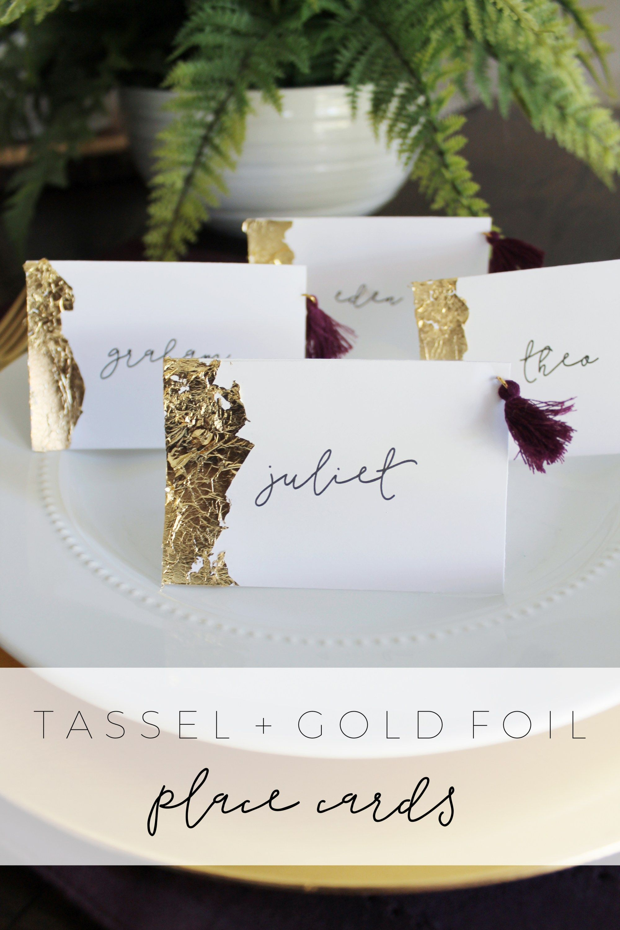 Tassel Gold Foil Place Cards By Party Planning Site With Images
